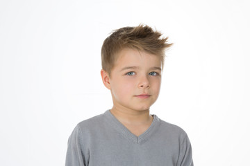 serious kid on white background