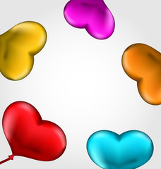 Colourful hearts balloons isolated on white background