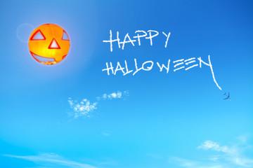 happy halloween in the blue sky