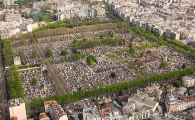 Aerial view of  Cemetery in Paris