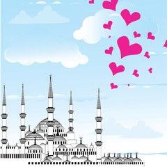 I Love Istanbul Design vector The Blue Mosque, Turkey.