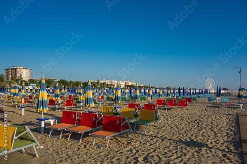 canvas print picture Rimini Strand in den Morgenstunden
