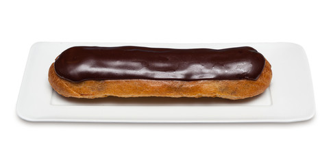 Chocolate Eclair on white background