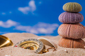Sea  shells and  compass on  sand with blue sky