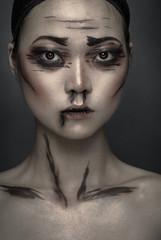 Portrait with conceptual face art
