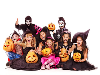 Halloween party with group kid .