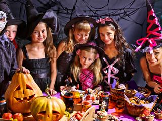 Children on Halloween party .