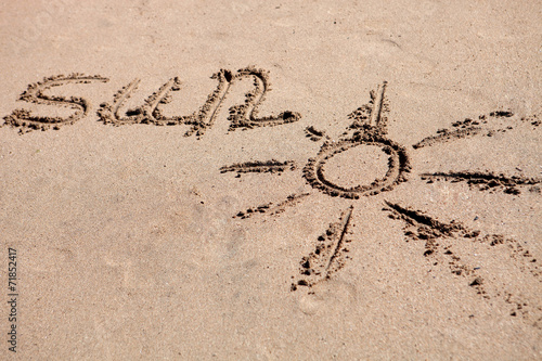 canvas print picture Written on the sand of the beach