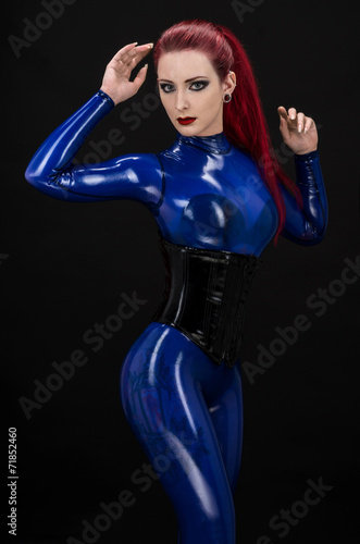 Blue Latex Suit 5