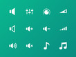 Speaker icons on green background. Volume control.