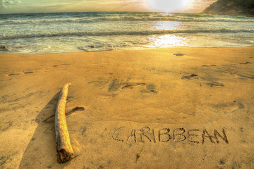 caribbean writing at sunset