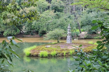 Lake and Stone Lantern in Kinkaku-ji Temple, Japan