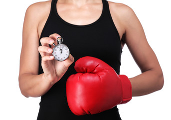 bust of a woman boxer with a stopwatch