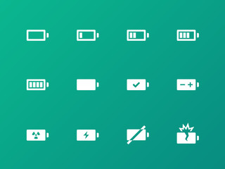 Battery icons on green background.