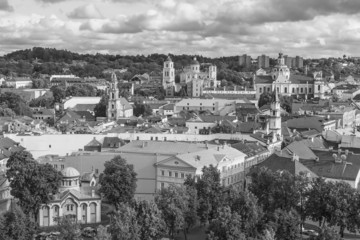 Black and white view of the old Vilnius