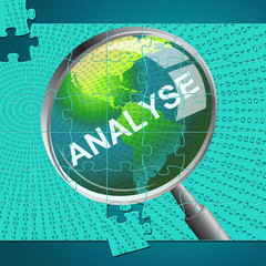 Analyse Magnifier Indicates Data Analytics And Analysis