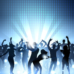 Music Party Background with silhouettes of dancing people