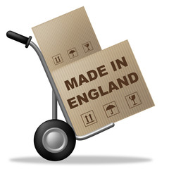 Made In England Means Shipping Box And Britain