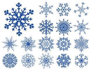 Snowflakes over white background