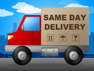 Same Day Delivery Represents Fast Shipping And Distribution