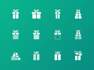 Present icons on green background.
