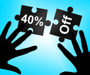 Forty Percent Off Represents Sales Promotional And Discounts