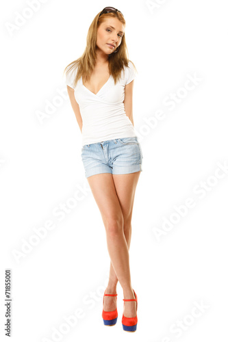 canvas print picture Summer fashion. Pretty sexy girl in denim shorts