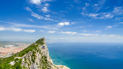 view of the sea and the tip of the mountain over gibraltar, afri