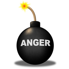 Anger Warning Shows Dangerous Unhappy And Bomb