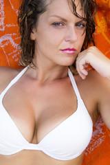 Beautiful sexy girl looking at camera