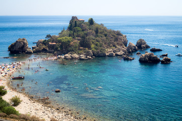 Panoramic view of Isola Bella (Beautiful island): small island n