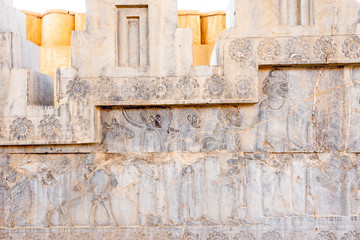 Bas relief at Persepolis in north Shiraz, Iran