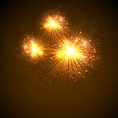 Vector Illustration of Fireworks, easy editable