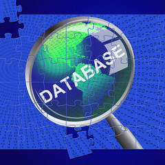 Database Magnifier Represents Search Magnify And Databases