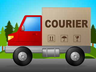 Courier Truck Indicates Lorry Postage And Parcel
