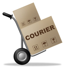Courier Package Represents Shipping Box And Parcel