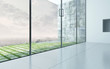 Empty room interior with glass panorama window