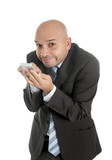 funny businessman on internet in online mobile addiction concept poster