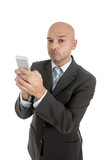internet mobile phone addict businessman using smartphone online poster
