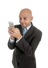 internet mobile phone addict businessman using smartphone