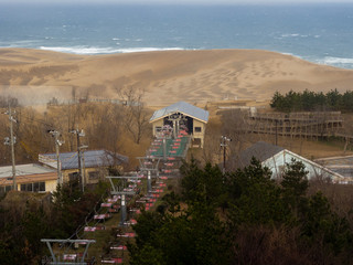 Cable lift taking visitors to Tottori Sand Dunes