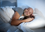 internet addict man in bed sleeping with digital tablet pad poster
