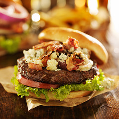 gourmet bleu cheese burger close up