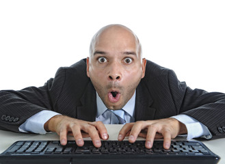 business man on computer keyboard funny face expressi