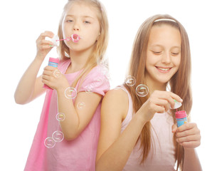 girls with soap bubbles