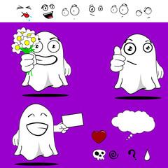 ghost funny cartoon set0