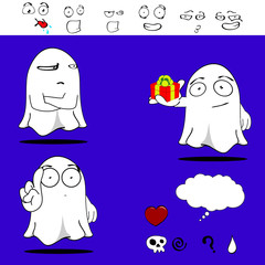 ghost funny cartoon set