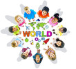 Multi-Ethnic Children with Text World and Related Symbols