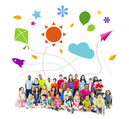 Multiethnic Group of Children Summer Vacation Concept