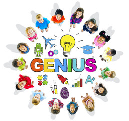 Multi-Ethnic Children with Text Genius and Related Symbols